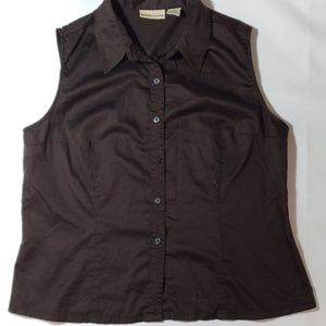 Apostrophe Brown Sleeveless Button Down Blouse